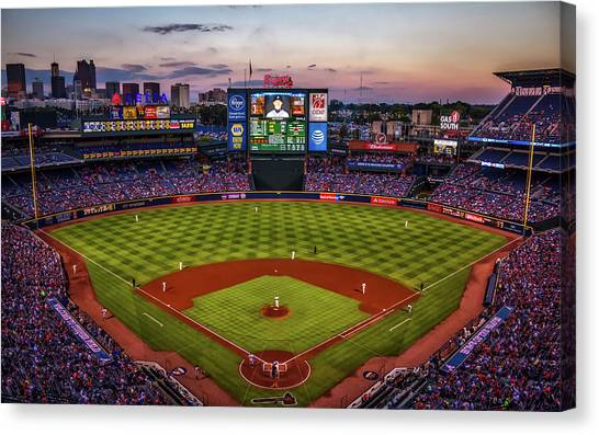 Atlanta Braves Canvas Print - Sunset At Turner Field - Home Of The Atlanta Braves by Pixabay