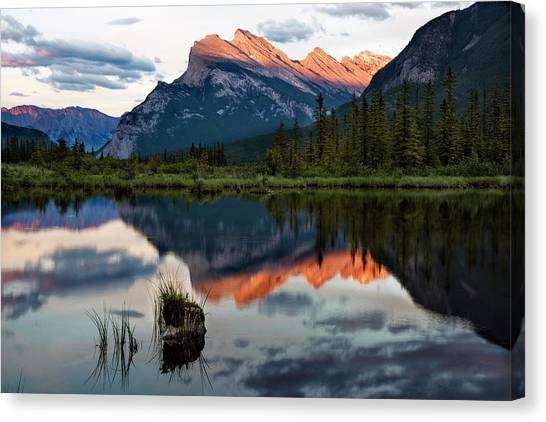 Canada Glacier Canvas Print - Sunset At Vermillion Lakes, Banff Canada 2 by Dave Dilli