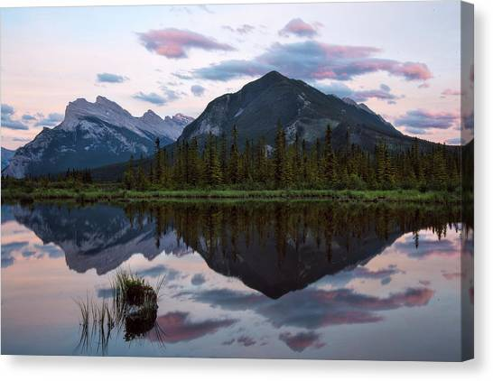 Canada Glacier Canvas Print - Sunset At Vermillion Lakes, Banff Canada by Dave Dilli