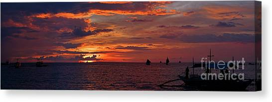sunset at White Beach Canvas Print