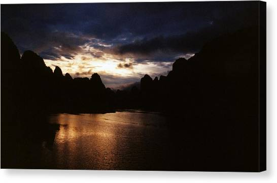 Sunset At Yangshuo In China Canvas Print by Gosta Eger
