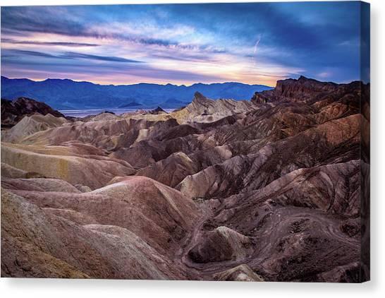 Sunset At Zabriskie Point In Death Valley National Park Canvas Print