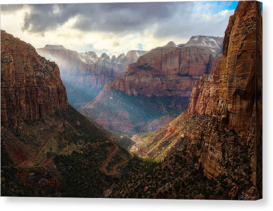 Canvas Print featuring the photograph Sunset At Zion Canyon Overlook by Owen Weber