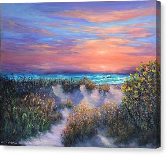 Sunset Beach Painting With Walking Path And Sand Dunesand Blue Waves Canvas Print