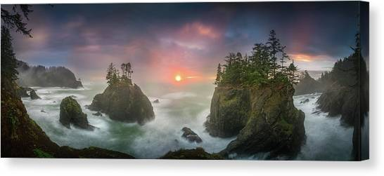 Sunset Between Sea Stacks With Trees Of Oregon Coast Canvas Print