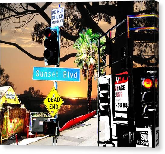 Sunset Blvd Meets Sunset Canvas Print by Maria Kobalyan