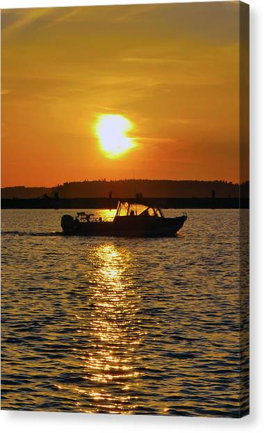 Sunset Boat Canvas Print