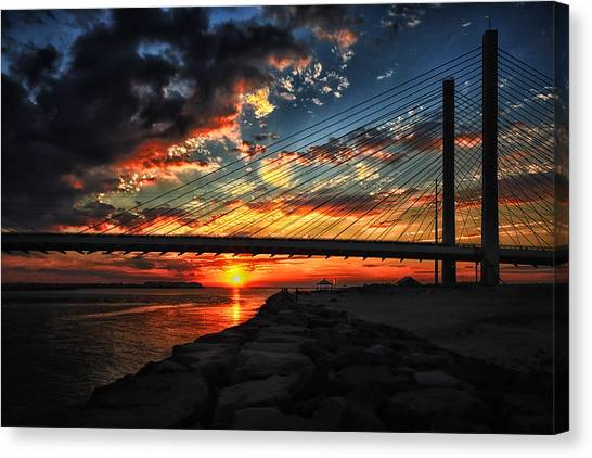 Sunset Bridge At Indian River Inlet Canvas Print