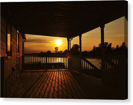 Canvas Print featuring the photograph Sunset By The Beach by Angel Cher