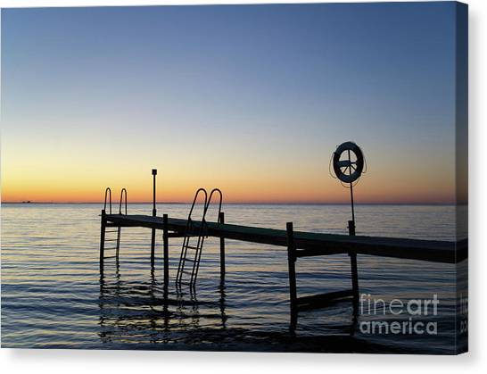 Sunset By The Old Bath Pier Canvas Print