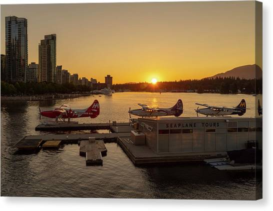 Sunset By The Seaplanes Canvas Print