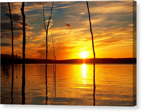 Canvas Print featuring the photograph Sunset By The Water by Angel Cher