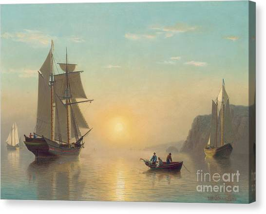 Ships Canvas Print - Sunset Calm In The Bay Of Fundy by William Bradford