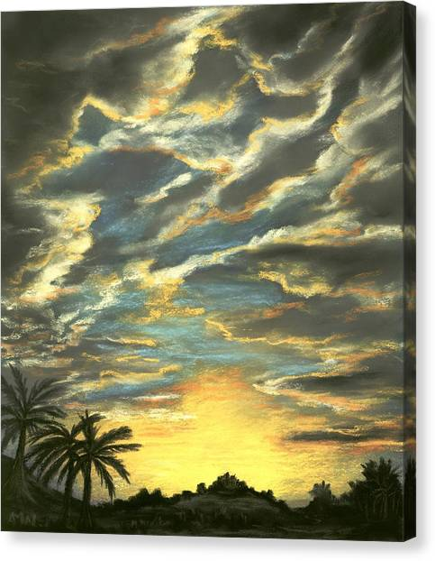 Canvas Print featuring the painting Sunset Clouds by Anastasiya Malakhova
