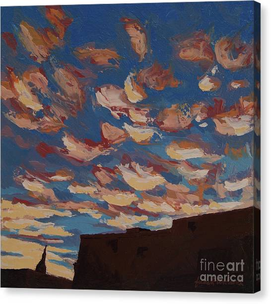 Canvas Print featuring the painting Sunset Clouds Over Santa Fe by Erin Fickert-Rowland