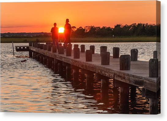 Seaside Heights Canvas Print - Sunset Couple by Kristopher Schoenleber