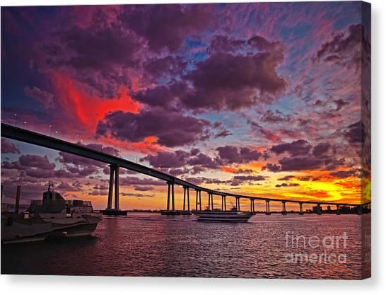 Sunset Crossing At The Coronado Bridge Canvas Print
