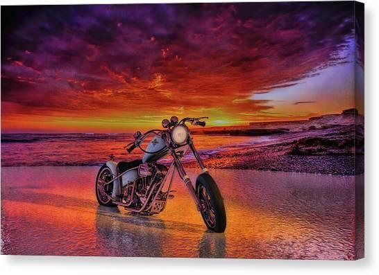 sunset Custom Chopper Canvas Print
