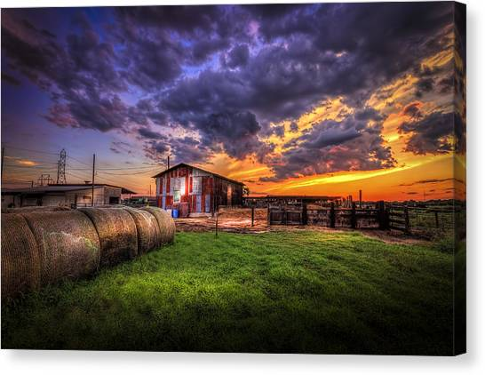 Horse Farms Canvas Print - Sunset Dairy by Marvin Spates