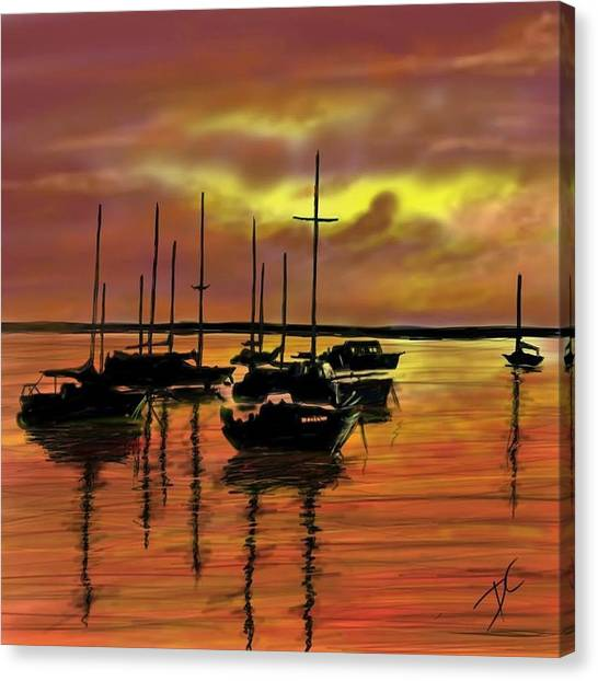 Canvas Print featuring the digital art Sunset by Darren Cannell