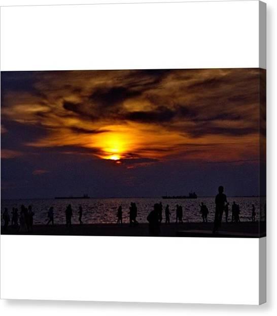 Sunrise Horizon Canvas Print - Sunset Day #summer #sunset #landscape by Emmanuel Varnas