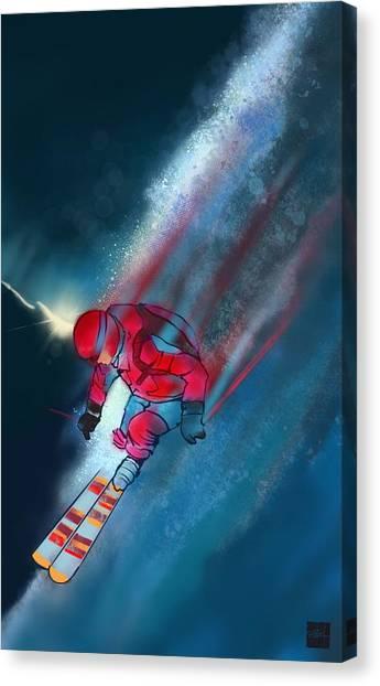 Skiing Canvas Print - Sunset Extreme Ski by Sassan Filsoof