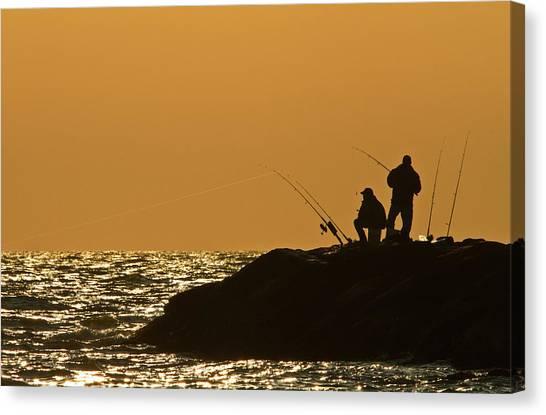 Sunset Fishermen Canvas Print