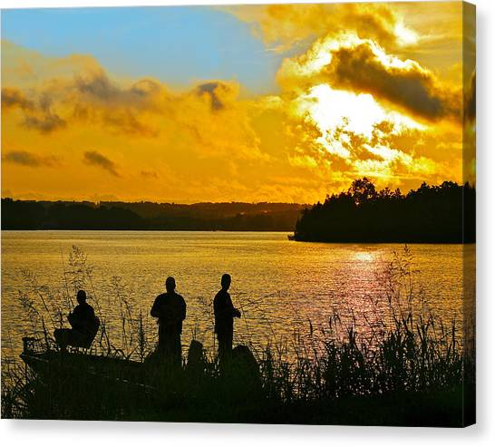 Sunset Fishermen Smith Mountain Lake Canvas Print