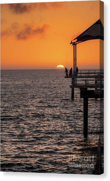 Canvas Print featuring the photograph Sunset Fishing by Ray Warren