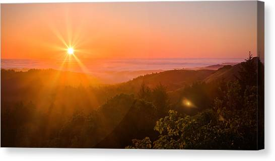 Sunset Fog Over The Pacific #1 Canvas Print