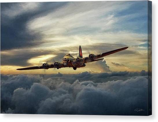 United States Army Air Corps Canvas Print - Sunset Fortress by Peter Chilelli