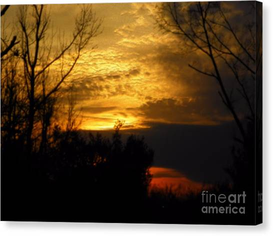 Sunset From Farm Canvas Print