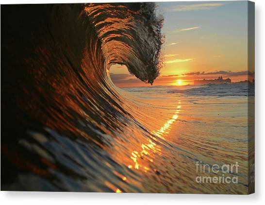 Bodyboard Canvas Print - Sunset From Sea by Russ LaScala