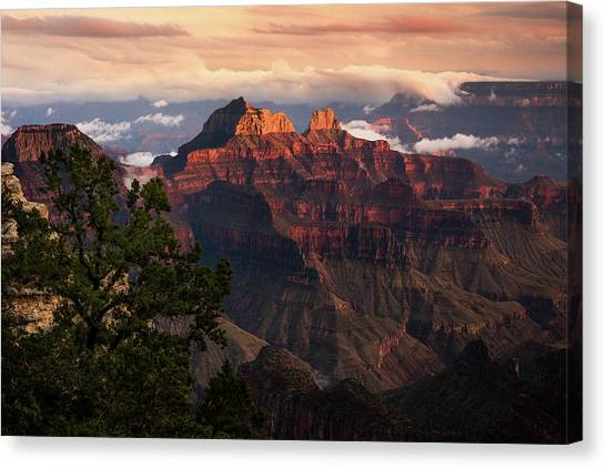 Sunset From The Grand Canyon Lodge Canvas Print by Adam Schallau