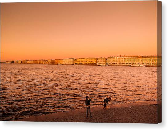 State Hermitage Canvas Print - Sunset From The Neva River, State by Panoramic Images