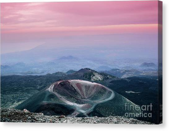 Sunset From The Top Of The Etna Canvas Print