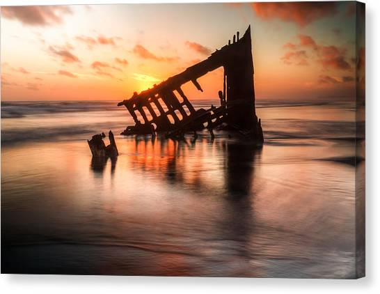 Peter Iredale Canvas Print - Sunset Glow 0016 by Kristina Rinell