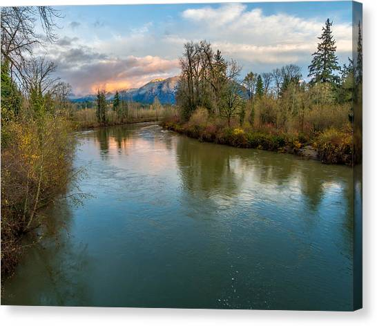 Sunset Glow Over The Snoqualmie River Canvas Print