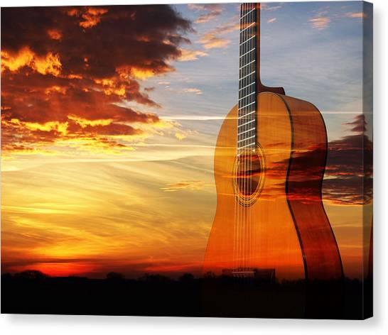 Prairie Sunsets Canvas Print - Sunset Guitar Serenade by Gill Billington