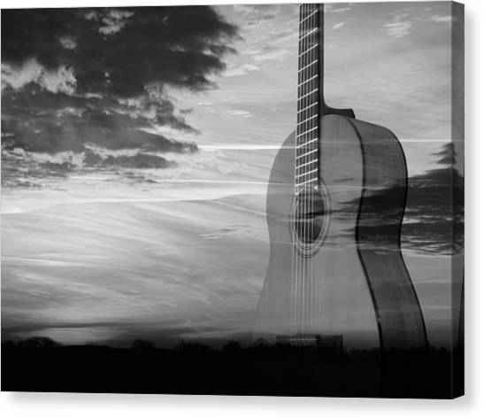 Classical Guitars Canvas Print - Sunset Guitar Serenade In Mono by Gill Billington