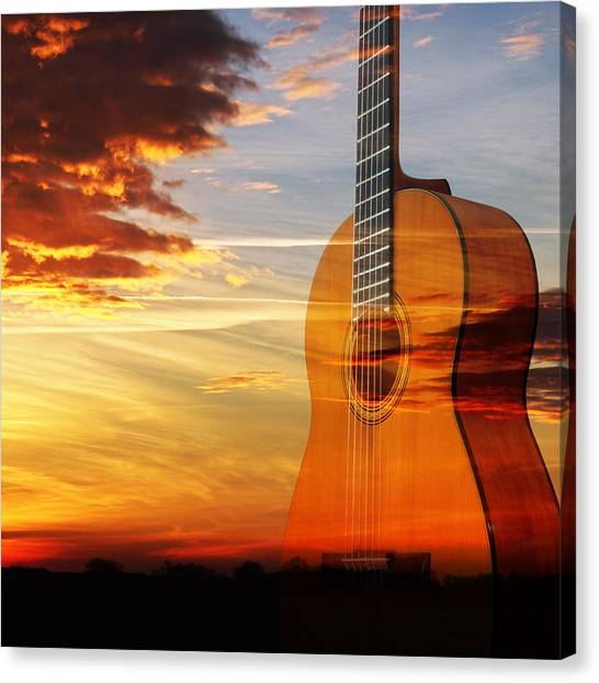 Prairie Sunsets Canvas Print - Sunset Guitar Serenade Square by Gill Billington
