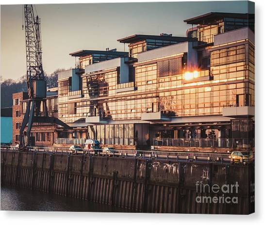 Sunset In Altona Hamburg Canvas Print