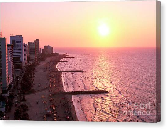 Sunset In Cartagen Canvas Print by John Rizzuto