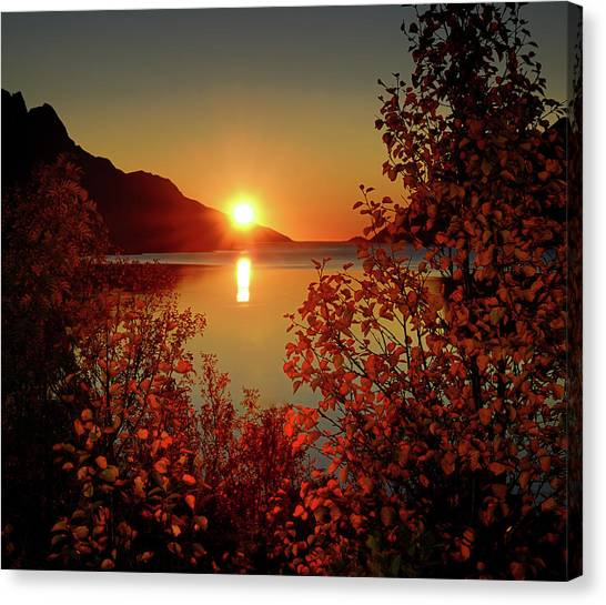 Mountain Sunset Canvas Print - Sunset In Ersfjordbotn by John Hemmingsen
