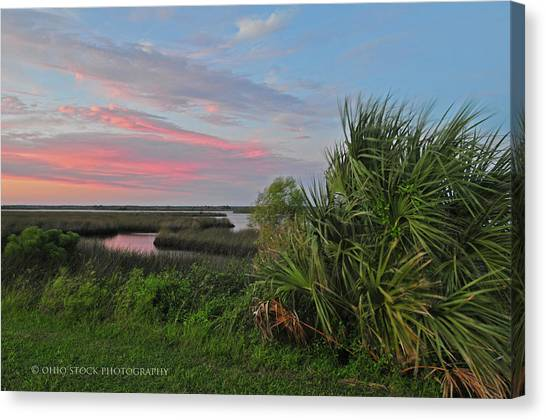 D32a-89 Sunset In Crystal River, Florida Photo Canvas Print