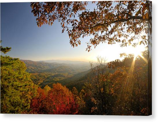 Sunset In Great Smoky Mountains Canvas Print by Darrell Young