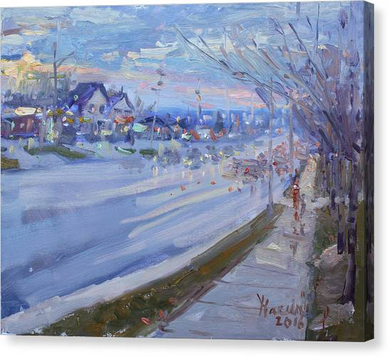 Georgetown University Canvas Print - Sunset In Guelph St Georgetown On by Ylli Haruni