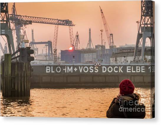 Sunset In Hamburg Port Germany Canvas Print