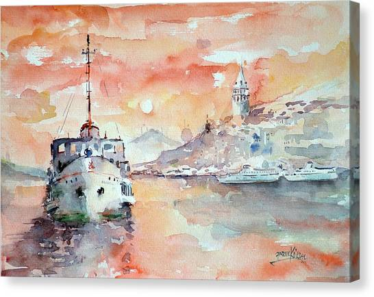 Sunset In Istanbul... Canvas Print