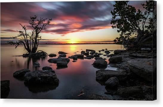 Sunset In Merritt Island - Florida, United States - Seascape Photography Canvas Print by Giuseppe Milo